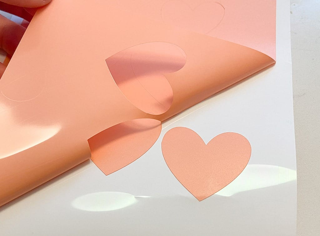 Heart vinyl cricut coral hearts