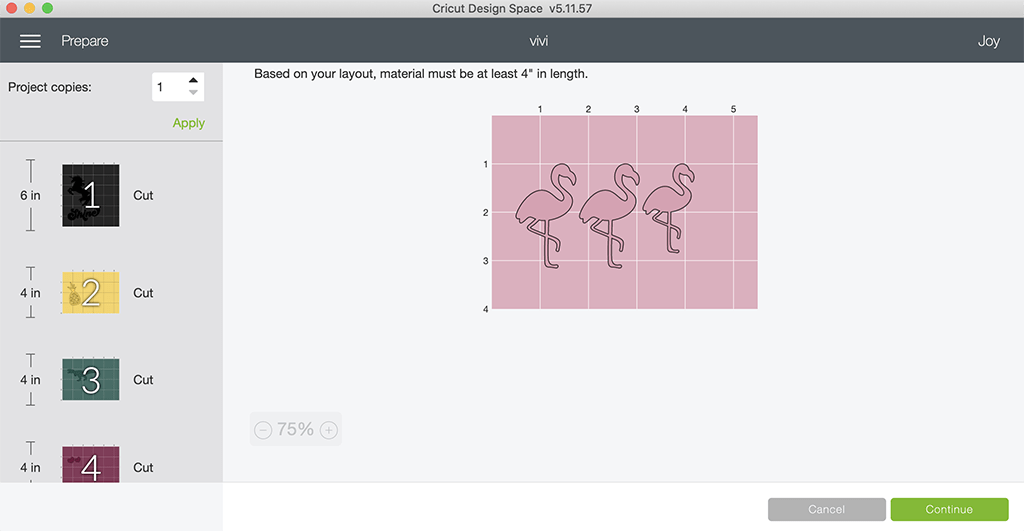 Cricut Design Space and Cricut Access flamingos