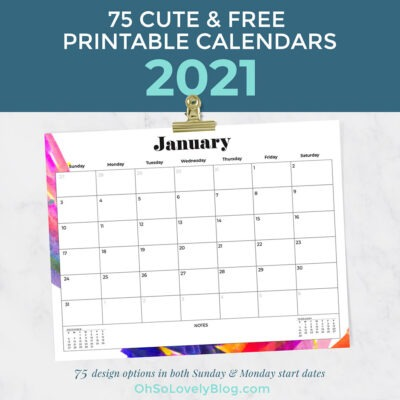 Free 2021 calendars — 75 beautifully designed January through December options in both Sunday and Monday starts. Download your favorites today!