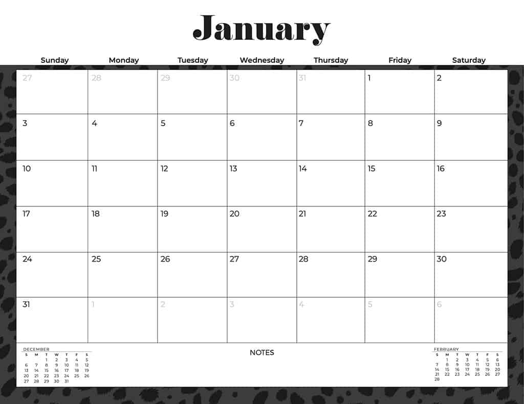 free 2021 calendars cheetah black and white