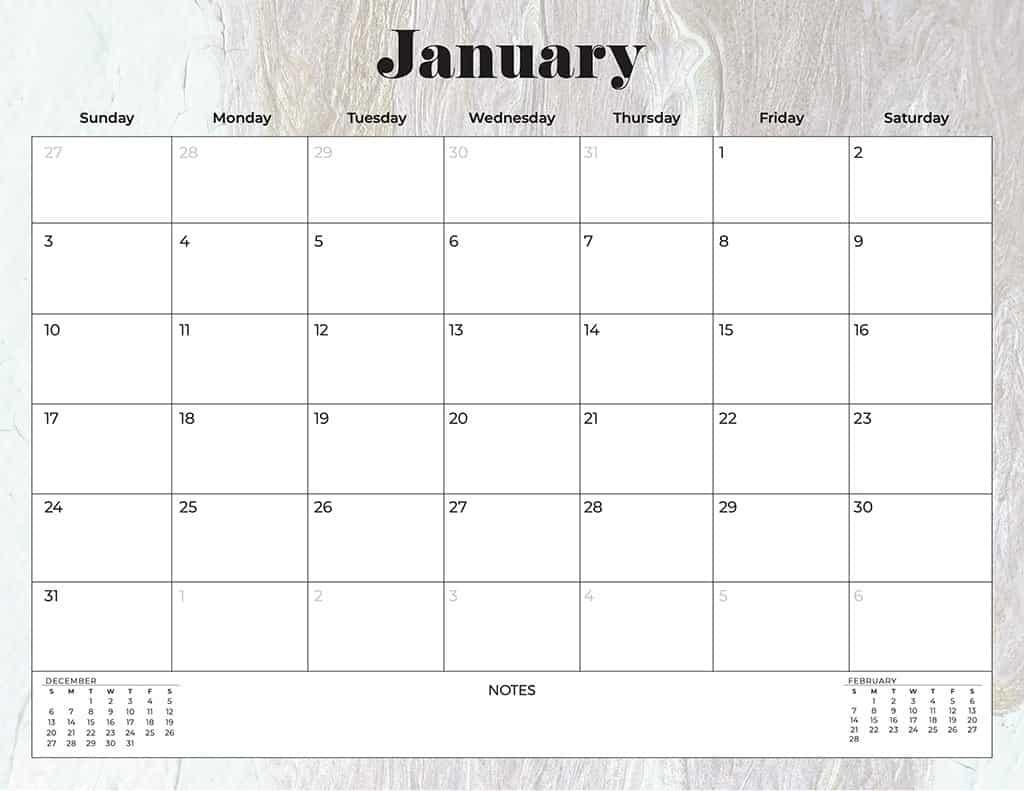 free 2021 calendars marble neutral