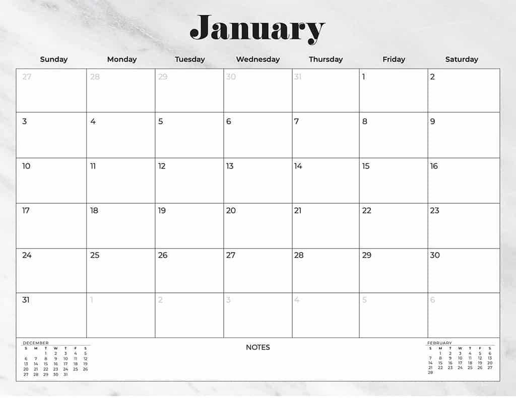free 2021 calendars neutral marble