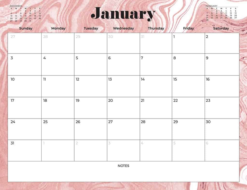 free 2021 printable calendars abstract swirls pink