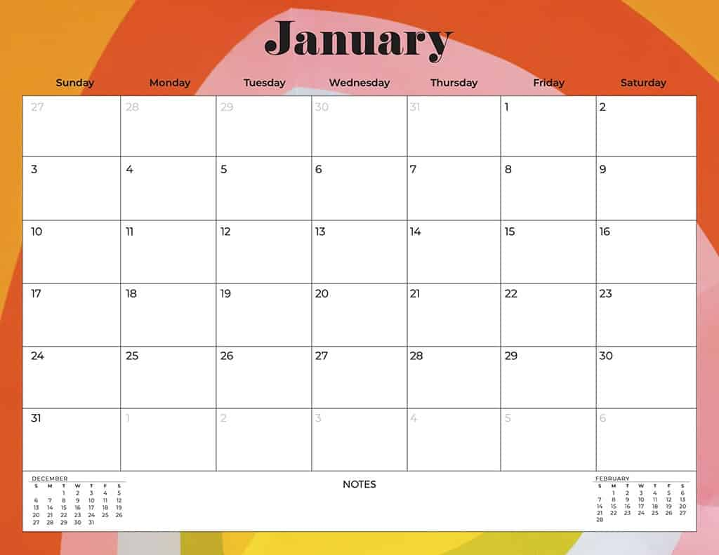 free 2021 printable calendars abstract and colorful rainbow