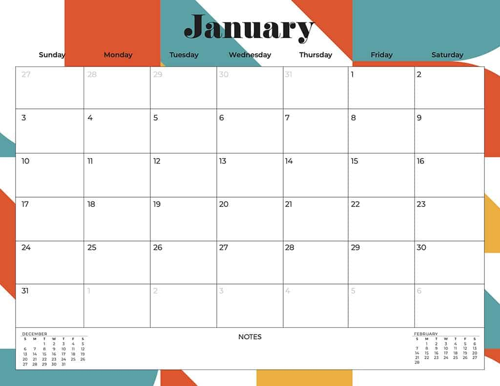 free 2021 printable calendars abstract and mid century modern