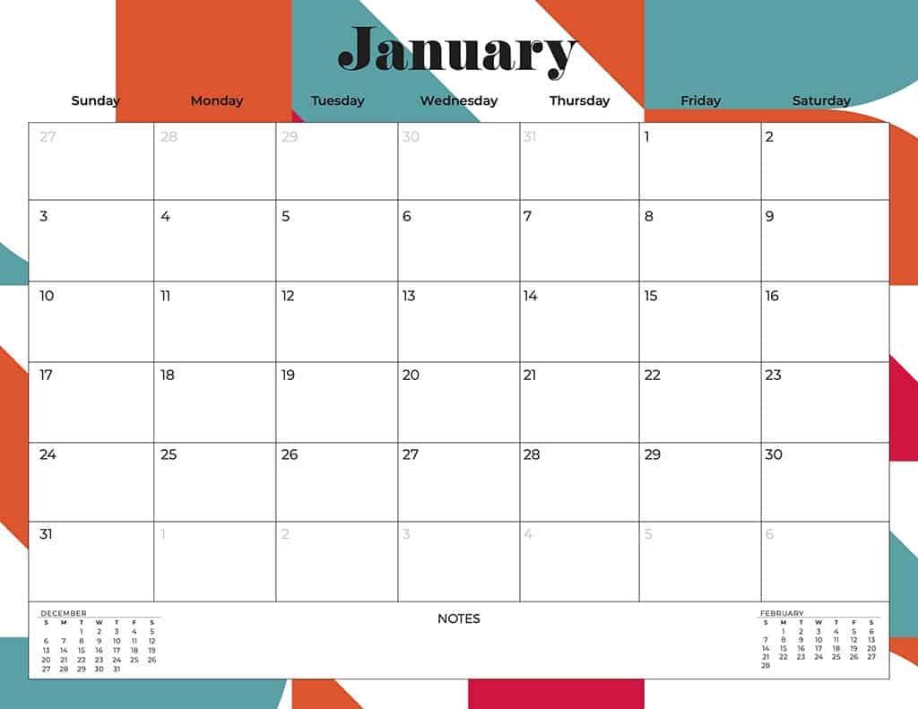 free 2021 calendars mid-century modern