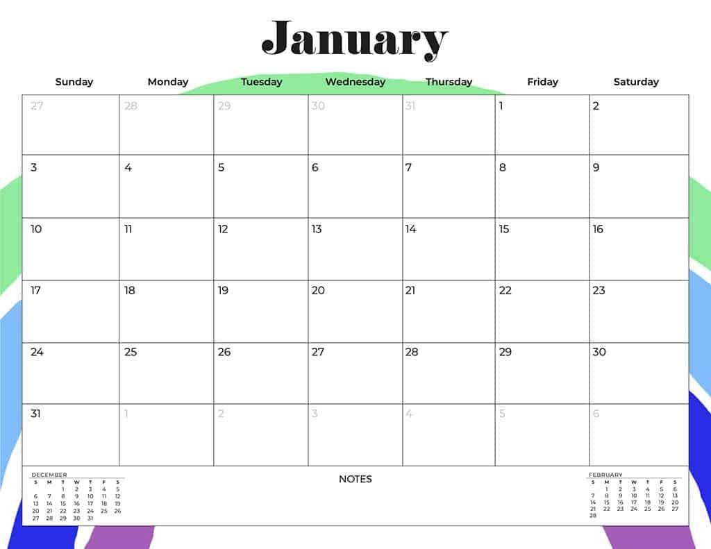 free 2021 calendars rainbow