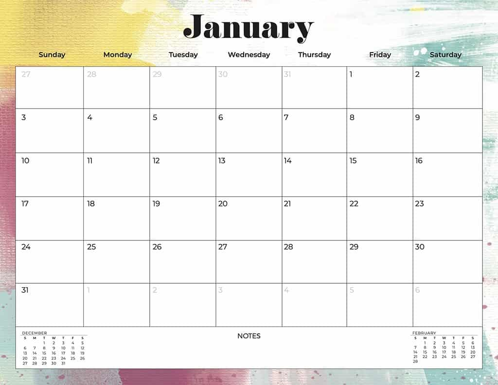 FREE 2021 colorful calendars