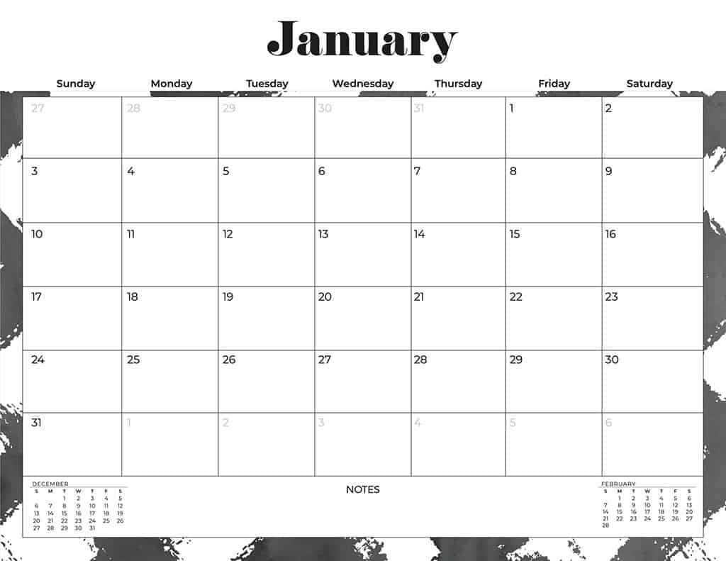 free 2021 calendars black and white
