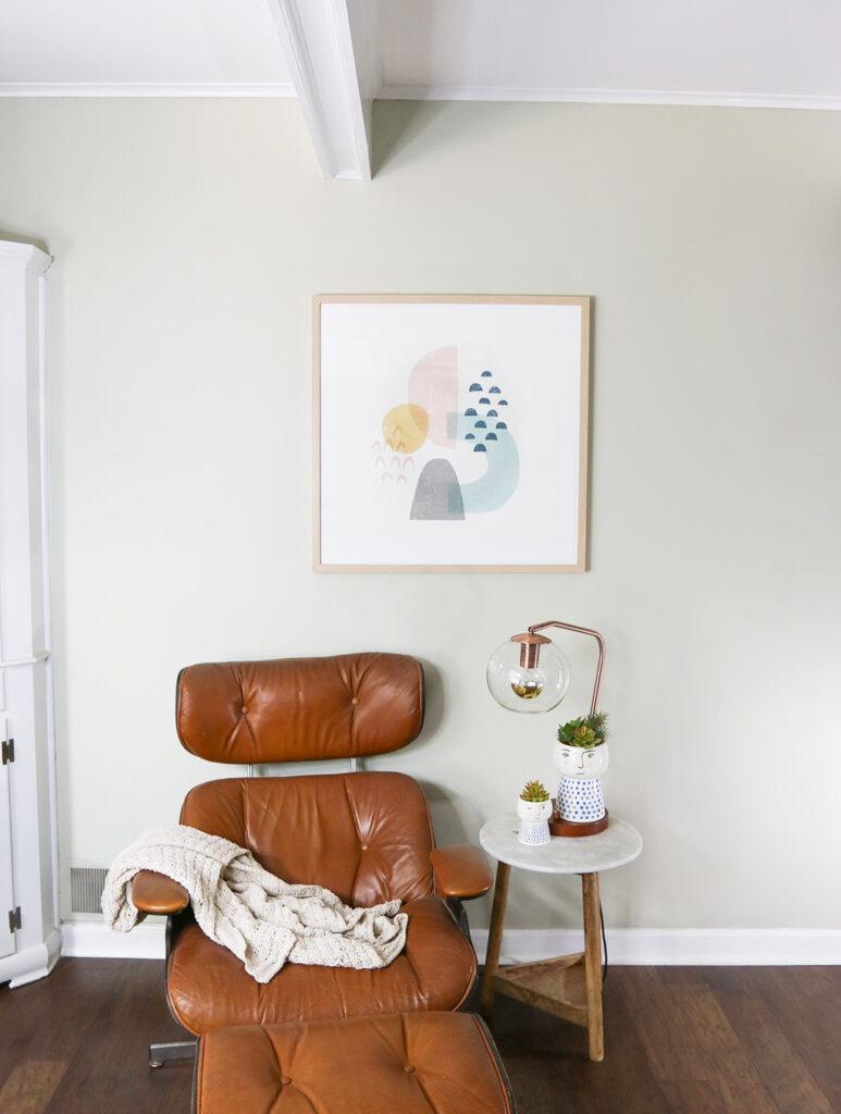 framed art print minimal living room