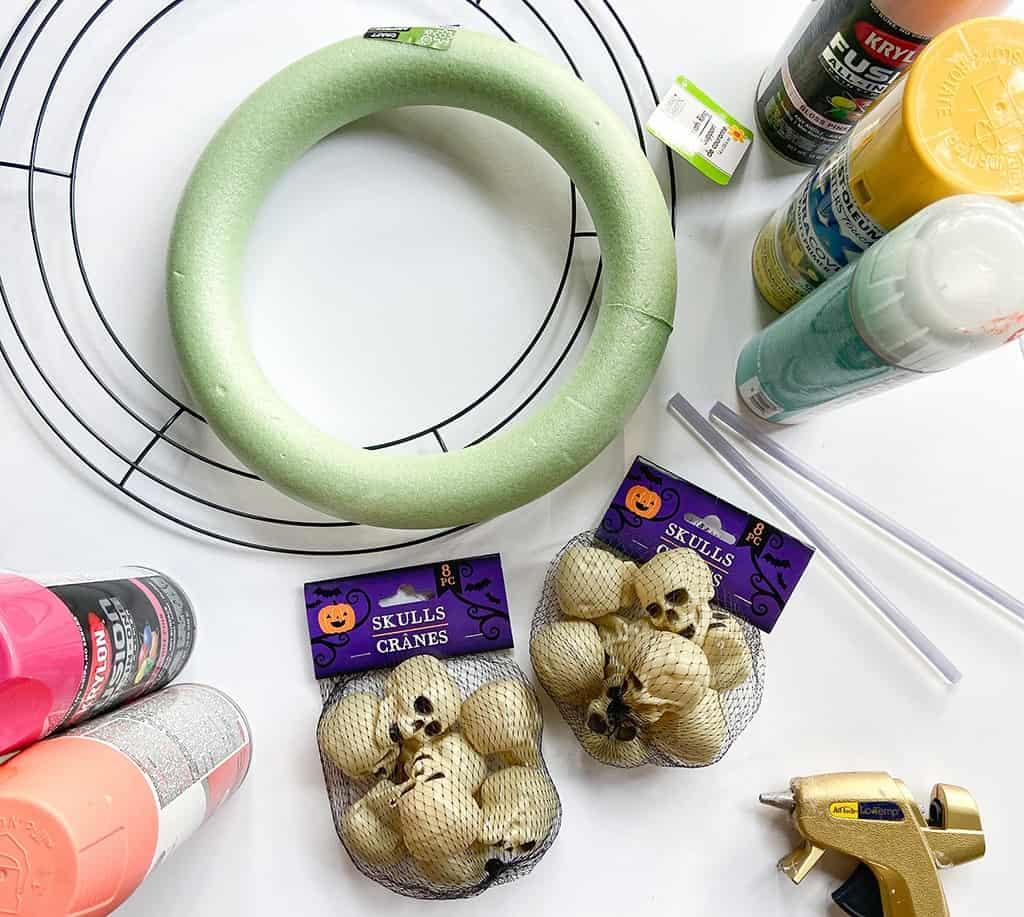 DIY skull Halloween wreath supplies