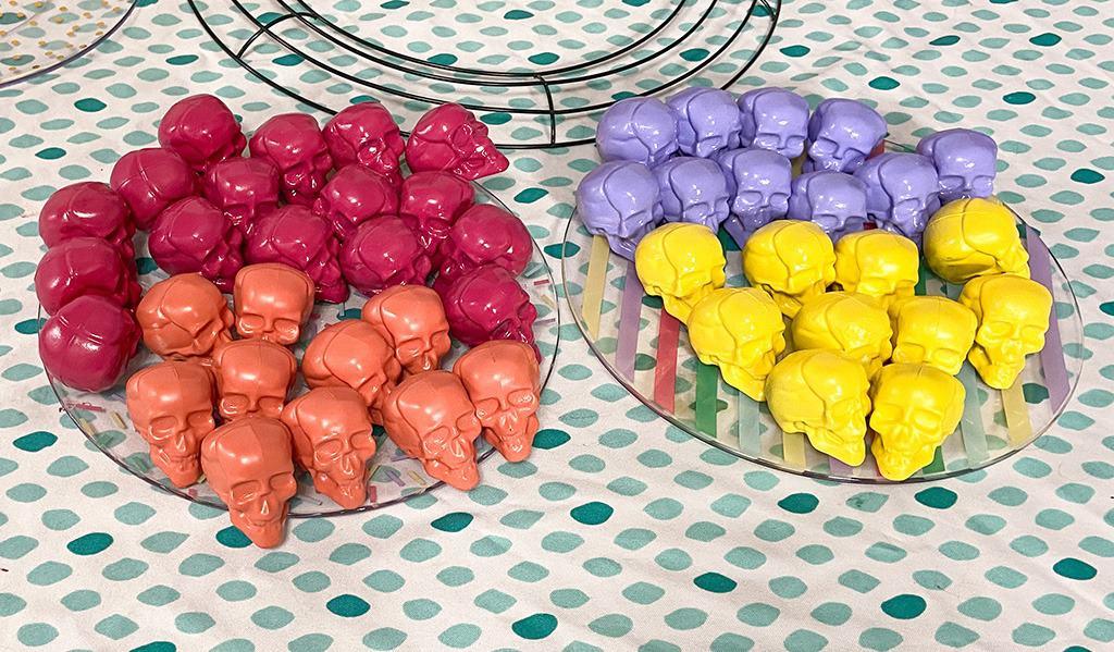 colorful skulls for DIY Halloween wreath