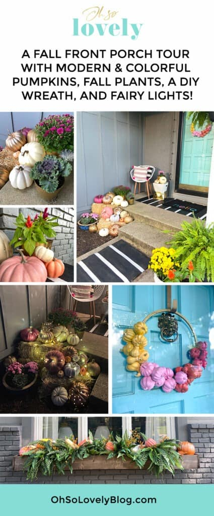 A outdoor fall decor tour — full of colorful and modern pumpkins & plants!