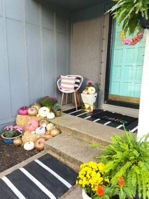A colorful and modern fall front porch tour