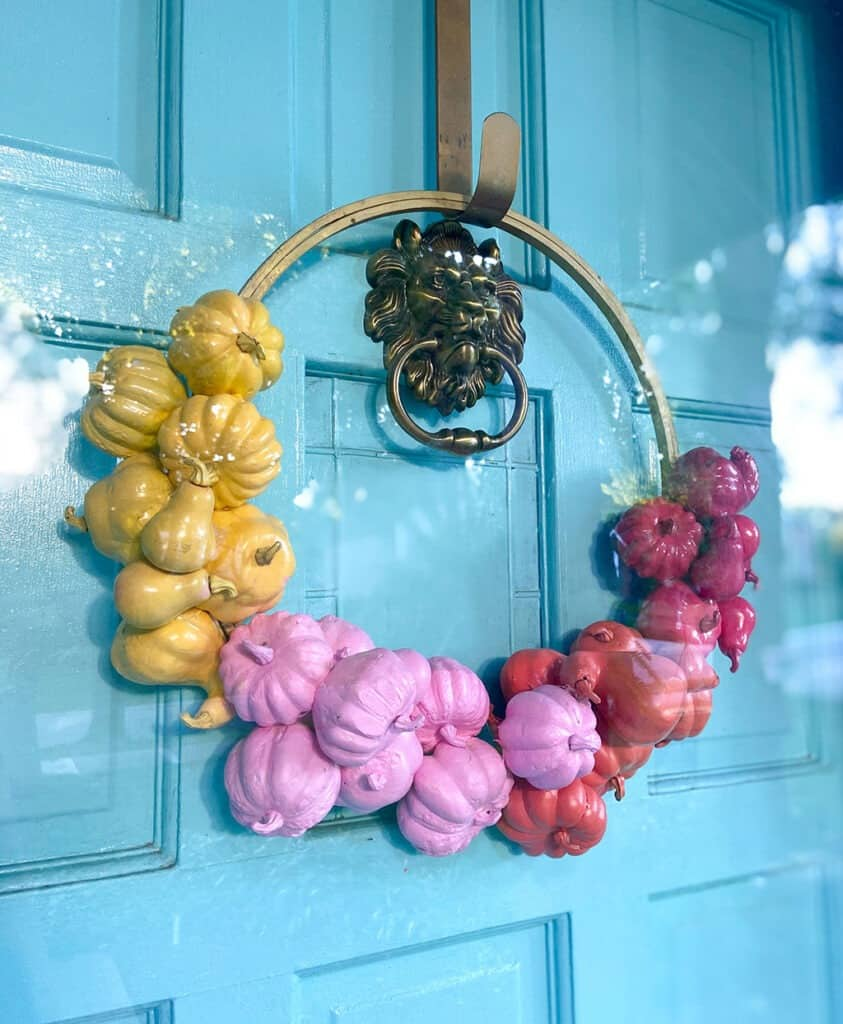 diy colorful modern pumpkin wreath