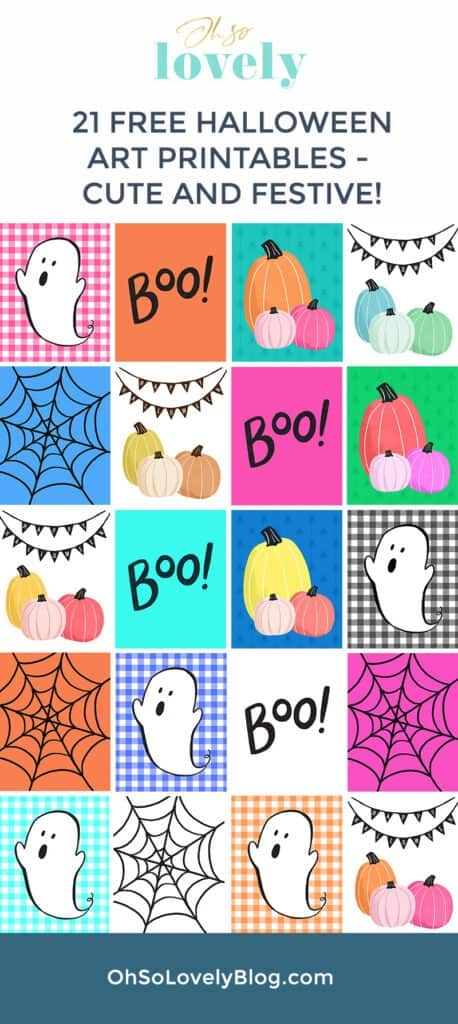 Free Halloween art printables – 21 cute and colorful designs. Affordably update your gallery walls and home decor for the holiday.