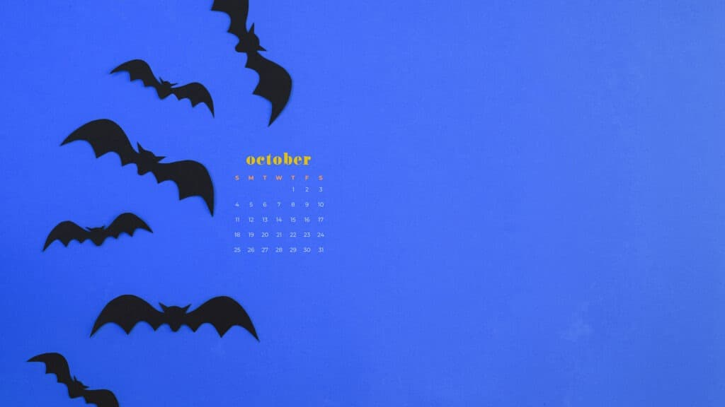 Bats Free October 2020 desktop calendar wallpapers — 22 design options!