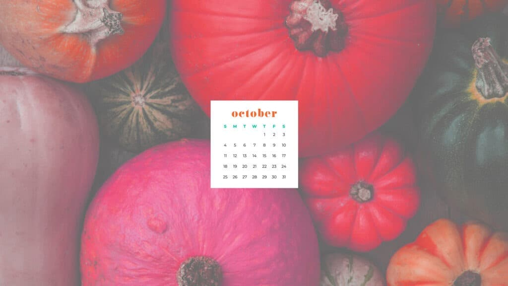 Pink and green pumpkkins Free October 2020 desktop calendar wallpapers — 22 design options!