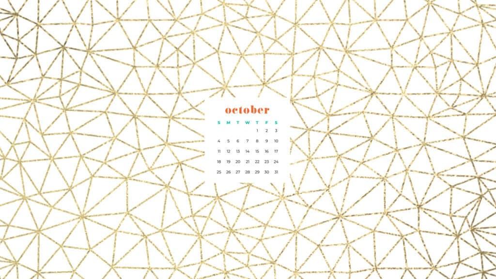 Gold spider webs Free October 2020 desktop calendar wallpapers — 22 design options!