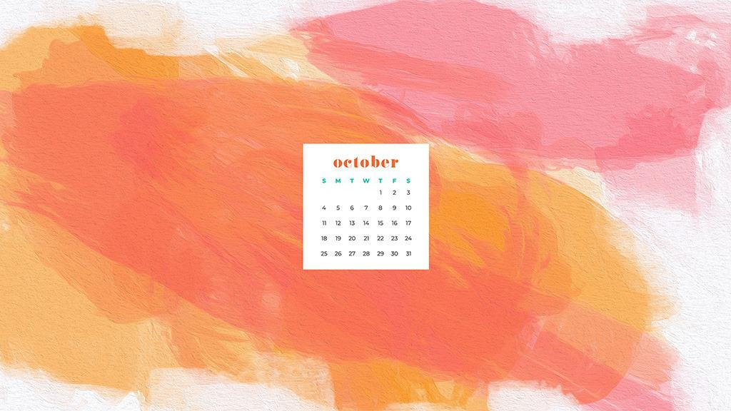Colorful orange and coral abstract art wallpaper calendar