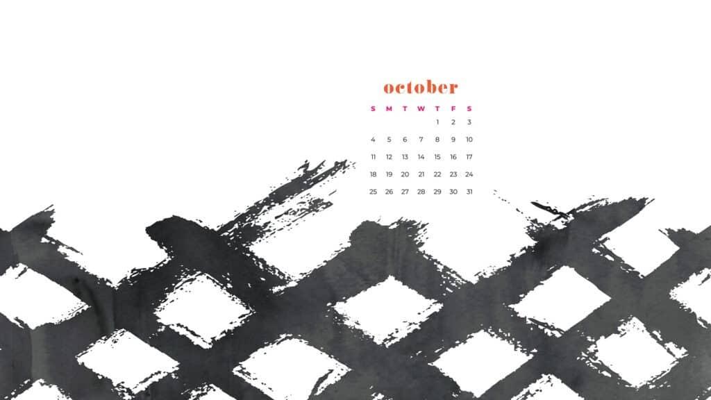 Black and white Free October 2020 desktop calendar wallpapers — 22 design options!