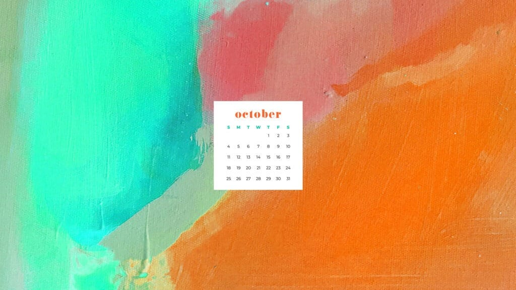 Colorful orange and turquoise fall toned abstract art wallpaper calendar