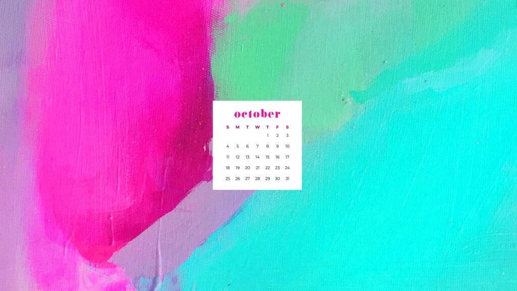 Colorful pink and turquoise abstract art wallpaper calendar