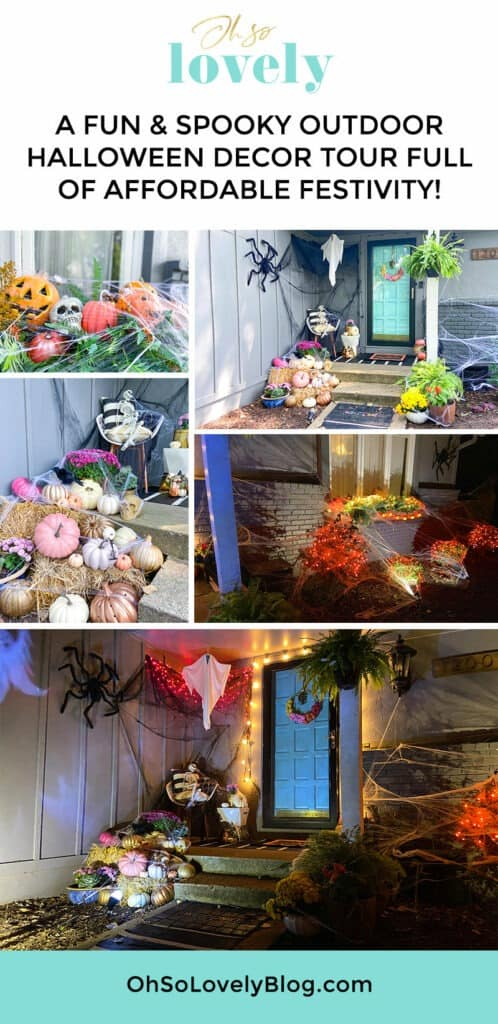 A fun & unique outdoor Halloween decor tour – at both day and nighttime! Full of affordable festivity & spookiness!