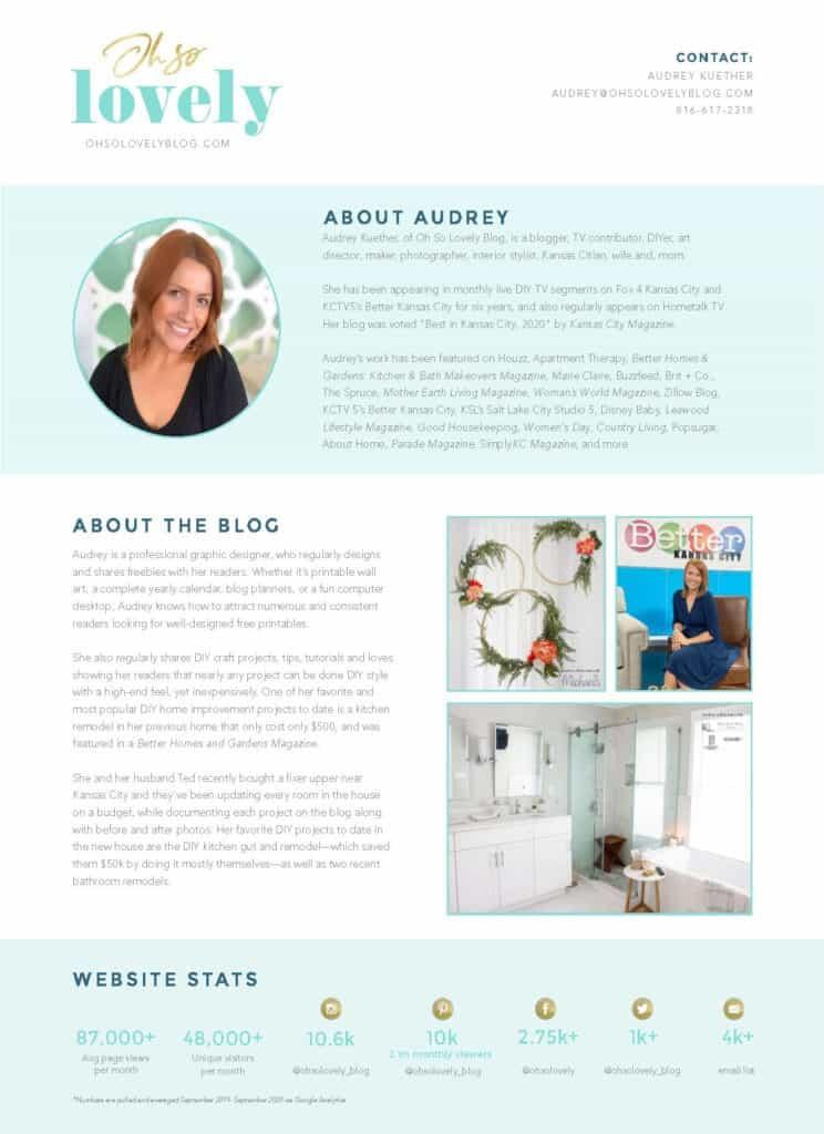 Audrey Kuether media kit Oh So lovely Blog