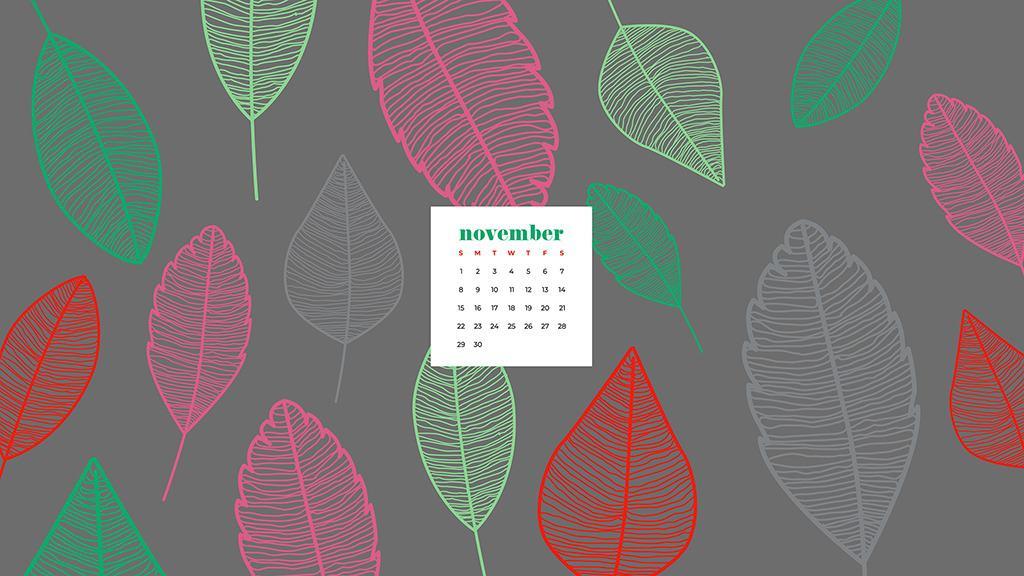 Free November 2020 desktop calendar wallpapers — colorful leaves pattern