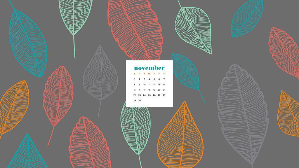 Free November 2020 desktop calendar wallpapers — colorful leaf illustration