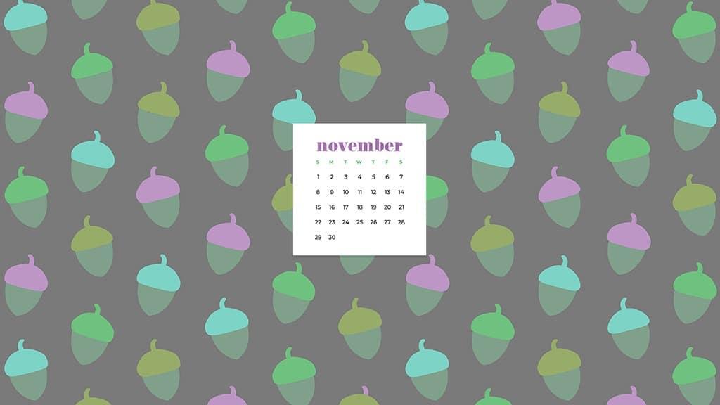 Free November 2020 desktop calendar wallpapers — colorful acorn pattern