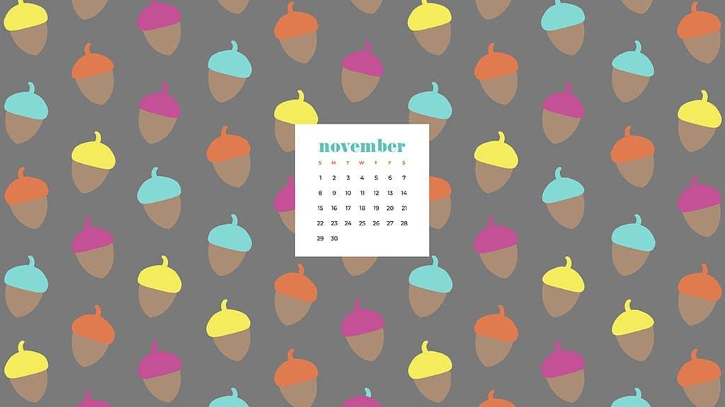 Free November 2020 desktop calendar wallpapers — colorful acorns