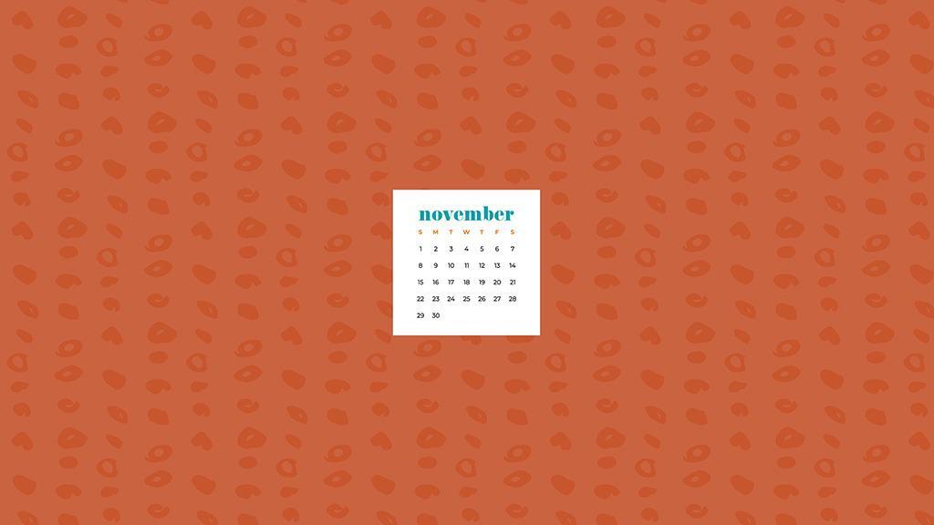 Free November 2020 desktop calendar wallpapers — organic orange polka dots