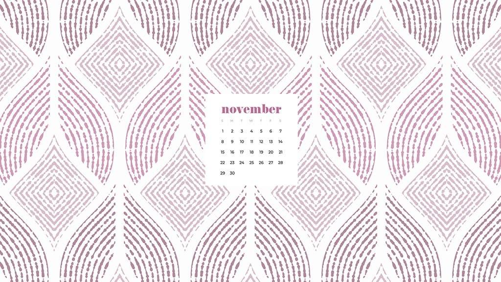 Free November 2020 desktop calendar wallpapers — white and pink pattern