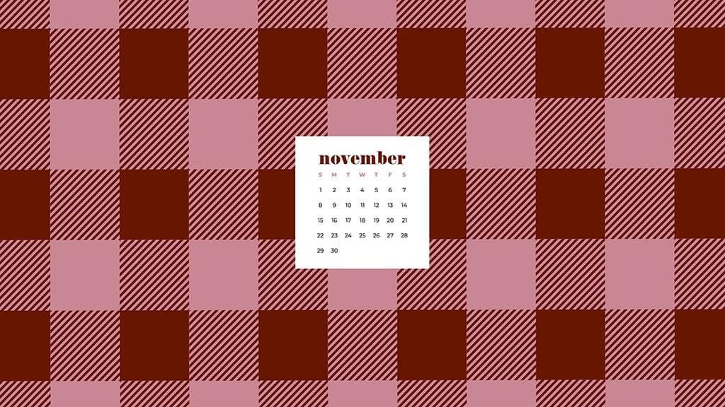 Free November 2020 desktop calendar wallpapers — pink and maroon buffalo check