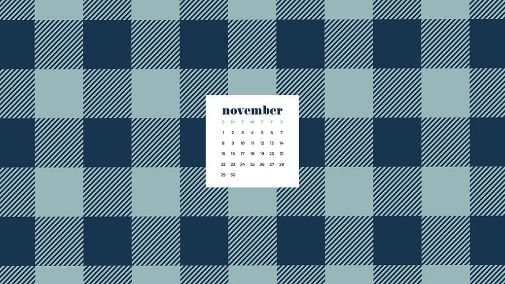 Free November 2020 desktop calendar wallpapers — turquoise and navy buffalo check