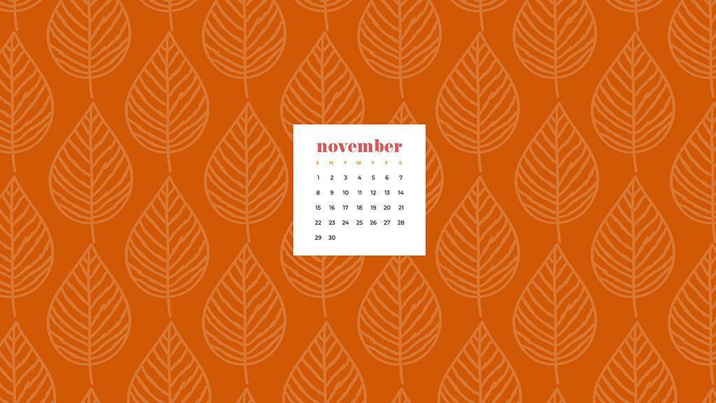 Free November 2020 desktop calendar wallpapers — orange leaf pattern
