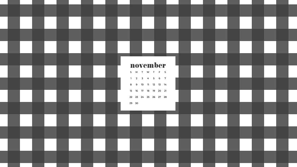 Free November 2020 desktop calendar wallpapers — black and white plaid