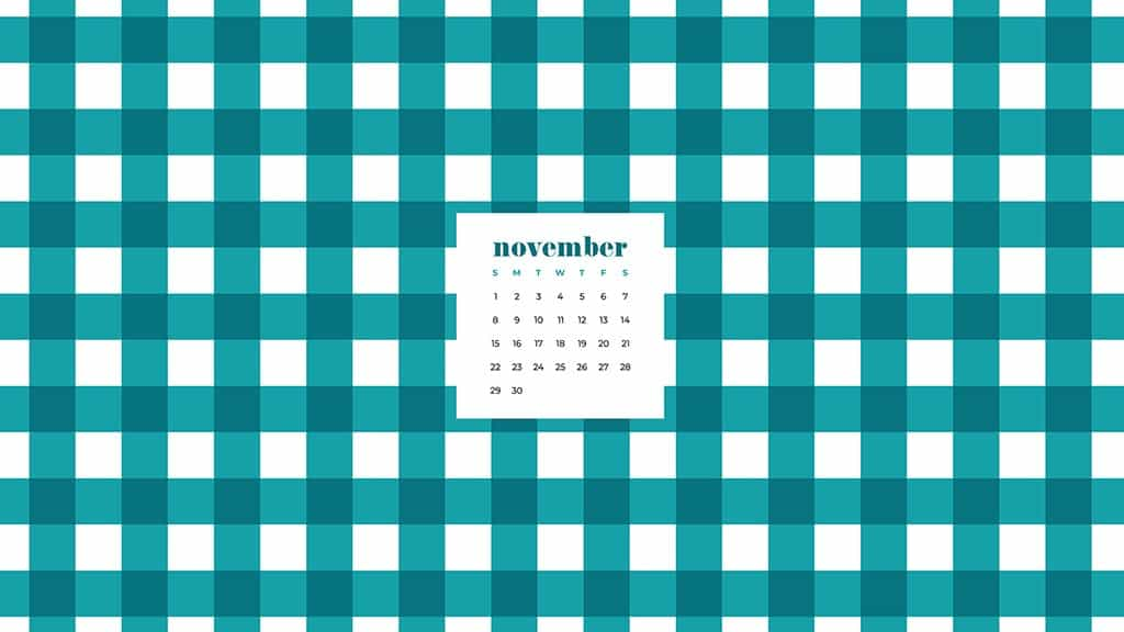 Free November 2020 desktop calendar wallpapers — turquoise and white plaid