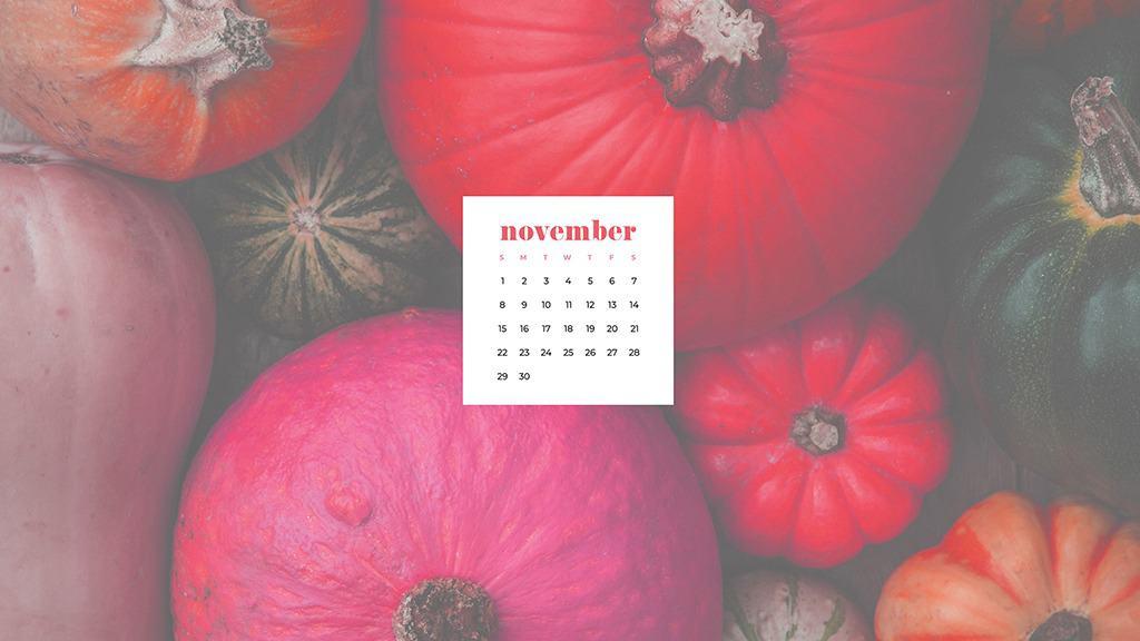Free November 2020 desktop calendar wallpapers — pink pumpkins