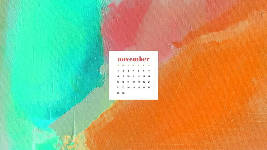 Free November 2020 desktop calendar wallpapers — colorful abstract acrylic paint