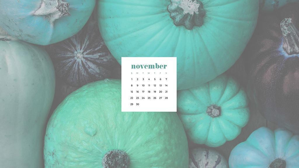 Free November 2020 desktop calendar wallpapers — turquoise pumpkins