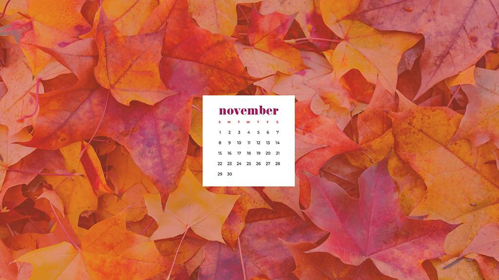 Free November 2020 desktop calendar wallpapers — fall leaves