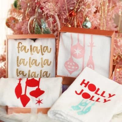 Make holiday tea towel gifts with your Cricut Joy