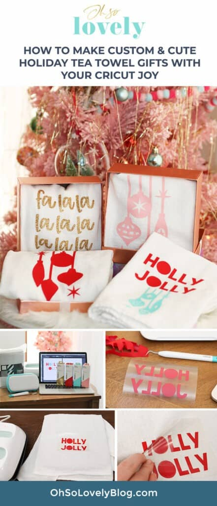 Learn how fun and easy it is to make custom and cute holiday tea towel gifts with your Cricut Joy. So fun, affordable, and festive!