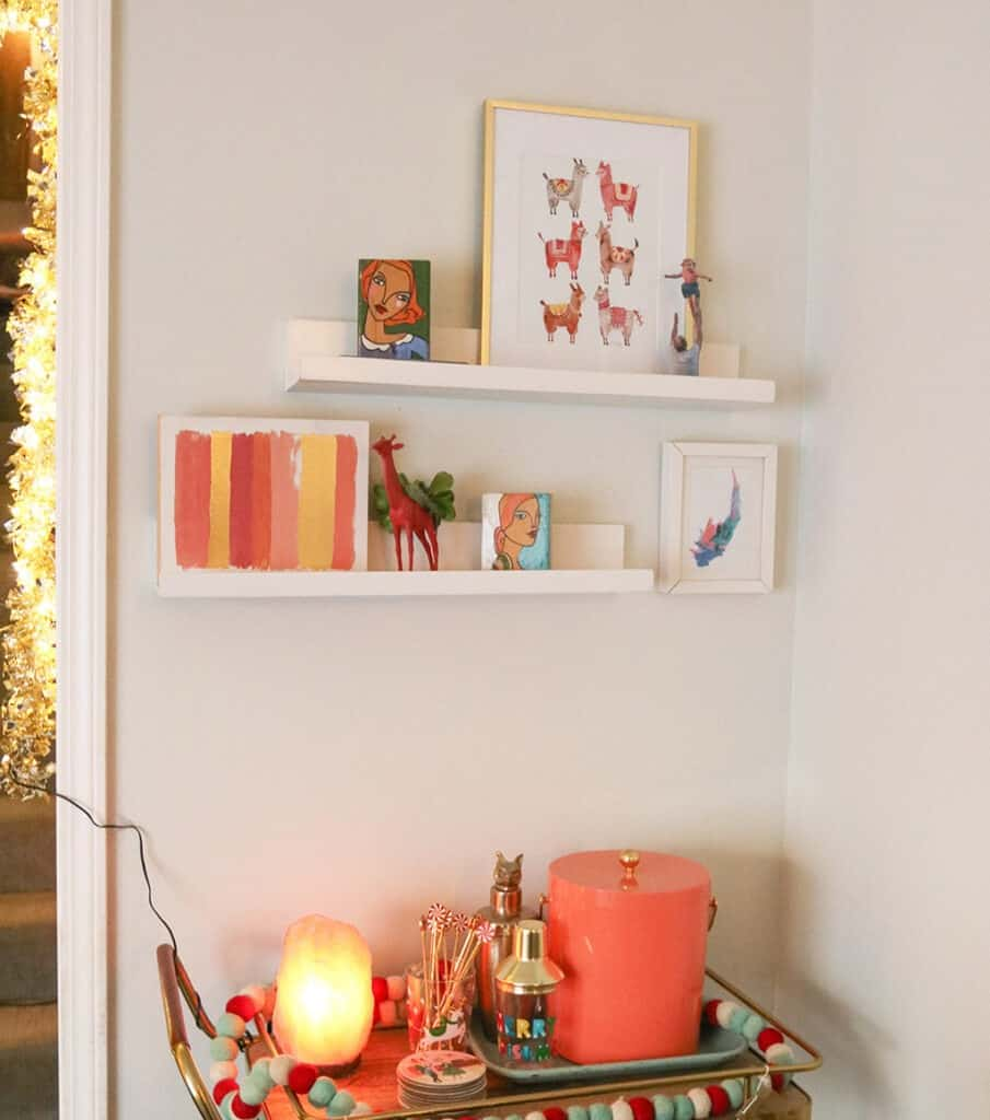 A modern and colorful holiday home tour full of affordable festivity and touches of fun throughout! bar cart
