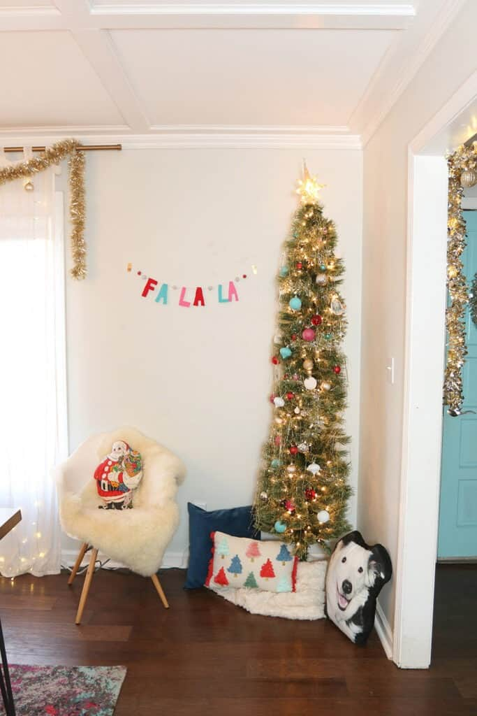 A modern and colorful holiday home tour full of affordable festivity and touches of fun throughout!