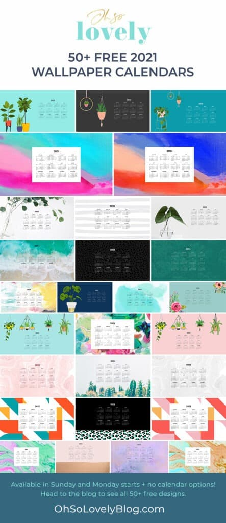 FREE 2021 wallpaper calendars – 50+ cute design options