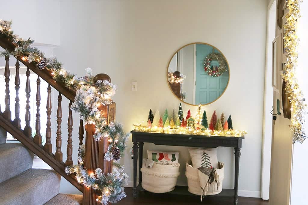 Entryway A modern and colorful holiday home tour full of affordable festivity and touches of fun throughout!
